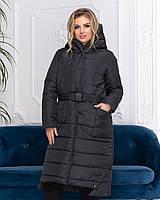 Пальто зимове з поясом, артикул 032, колір чорний, фото 1