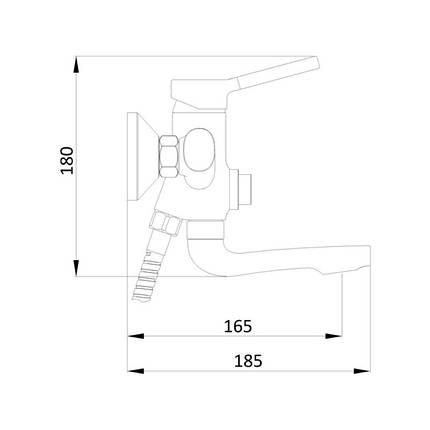 Смеситель для ванны Q-tap Inspai CRM 005BN, фото 2