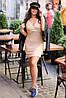 Приталенное ангоровое платье в мелкий рубчик с запахом на груди, норма и батал большие размеры, фото 4