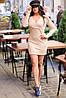 Приталенное ангоровое платье в мелкий рубчик с запахом на груди, фото 6