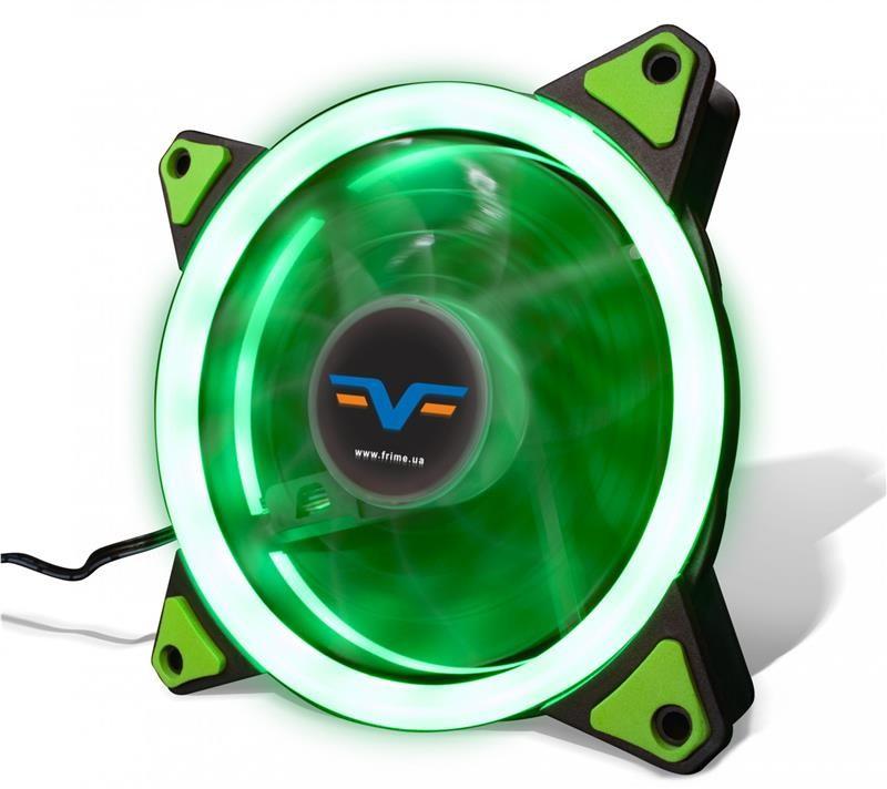 Вентилятор Frime Iris LED Fan Single Ring Green (FLF-HB120GSR); 120х120х25мм, 3-pin+4-pin