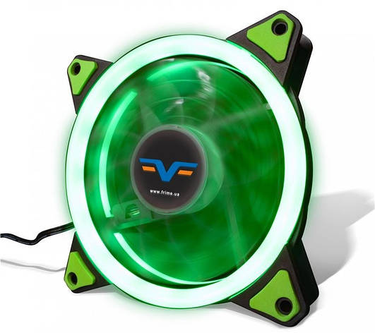 Вентилятор Frime Iris LED Fan Single Ring Green (FLF-HB120GSR); 120х120х25мм, 3-pin+4-pin, фото 2