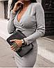 Приталенное ангоровое платье в мелкий рубчик с запахом на груди, норма и батал большие размеры, фото 10