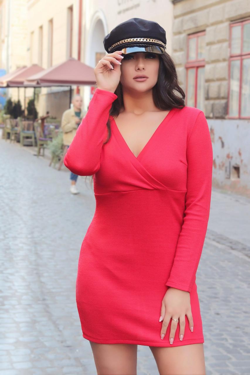 Приталенное ангоровое платье в мелкий рубчик с запахом на груди, норма и батал большие размеры