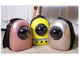 Рюкзак переноска для кошки собаки Золотой, сумка для кота собак и домашних животных прозрачный рюкзаки с иллюминатором переноски Cosmopet Upet AnimAll, фото 2