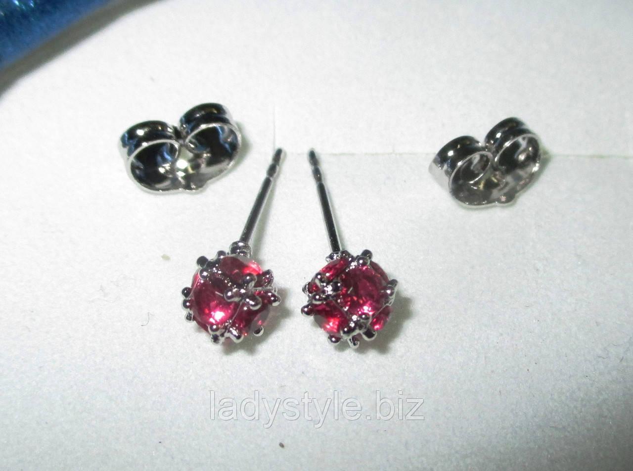 Яркие серьги-пусеты  шарики розовые  с фианитом от студии LadyStyle.Biz