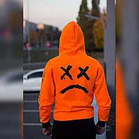 Худи мужская Lil Peep оранжевая, толстовка с капюшоном
