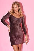 Вечернее платье из люрекса с открытыми плечами. Модель 23289. Размеры 42-46