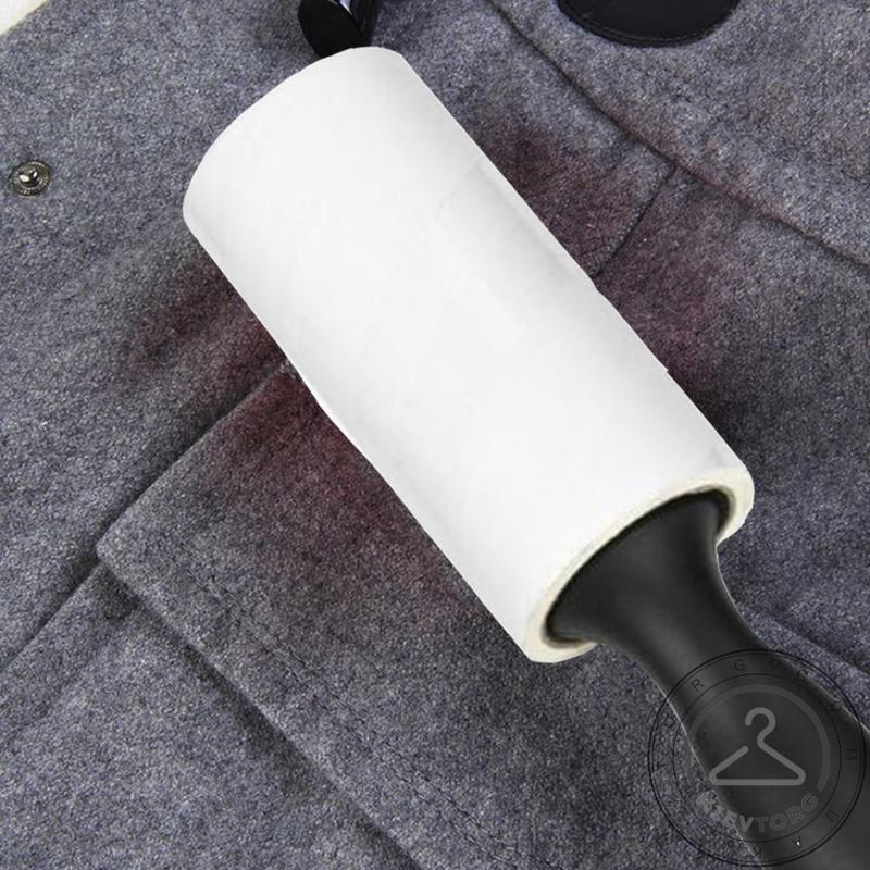 Ролик (валик) липкий для чистки одежды и удаления ворса черного цвета (20 листов)