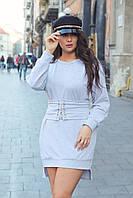 Стильное платье-туника с поясом-корсетом на шнуровке в комплекте, норма и батал большие размеры
