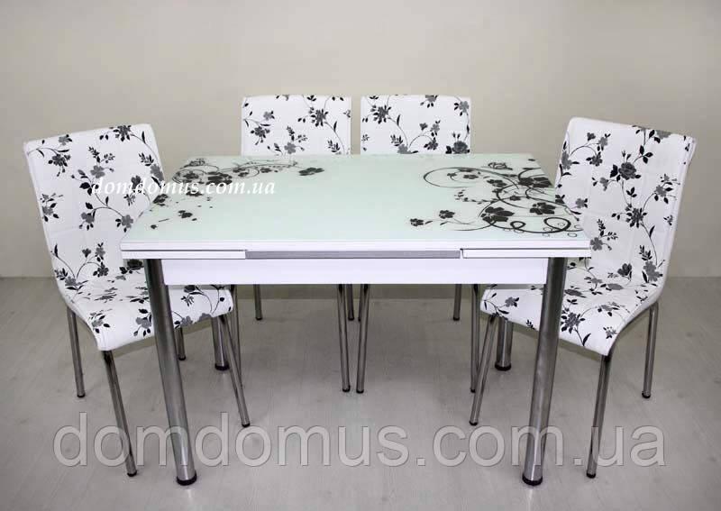 """Комплект обеденной мебели """"Siyah Cicek"""" (стол ДСП, каленное стекло + 4 стула) Mobilgen, Турция"""
