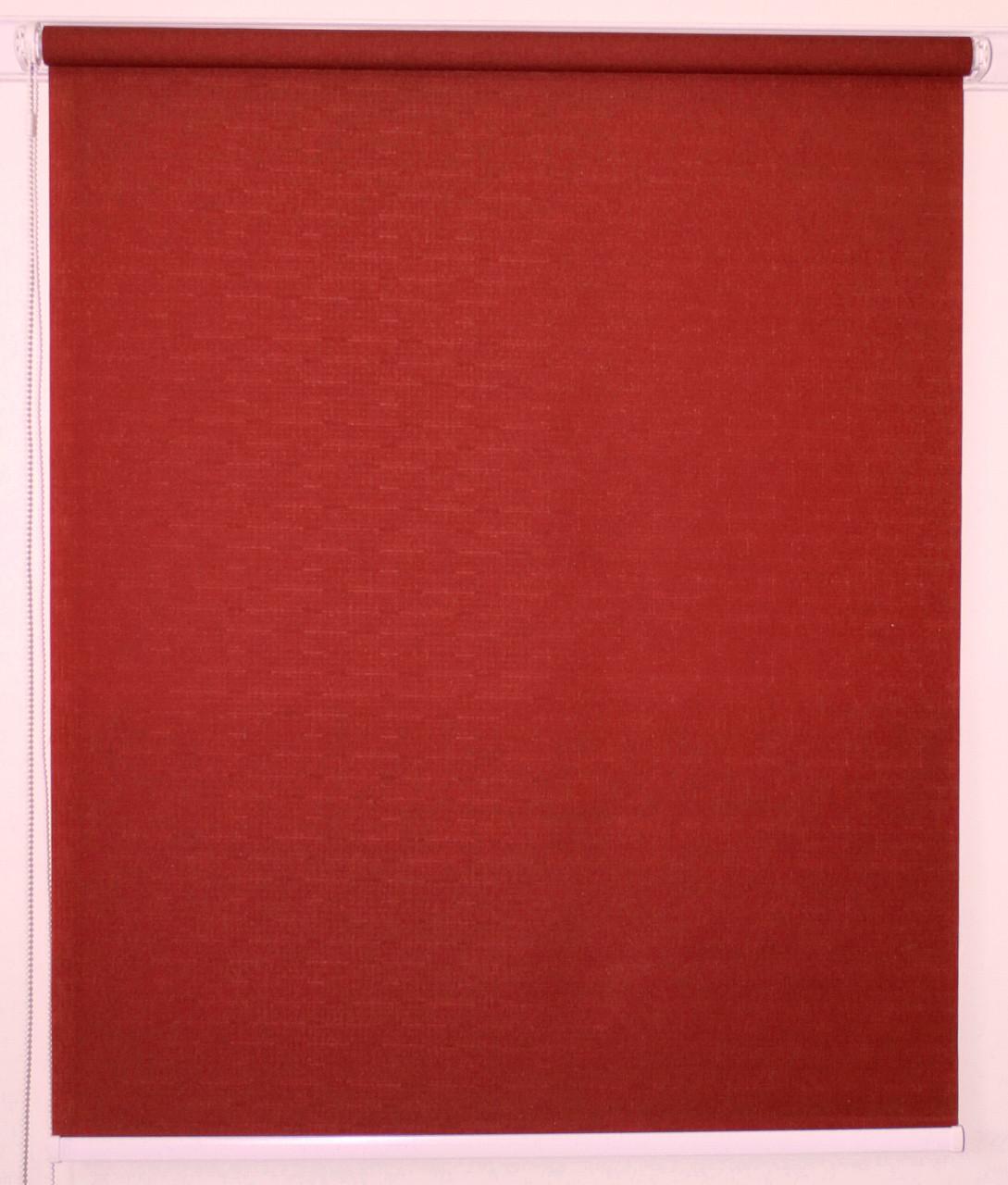 Рулонная штора 300*1500 Ткань Лён 888 Вишнёвый