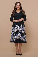Женское платье для полных с цветами Орхидеи Белинда-Б д/р