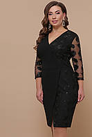 Женское черное платье для полных Лария-Б д/р