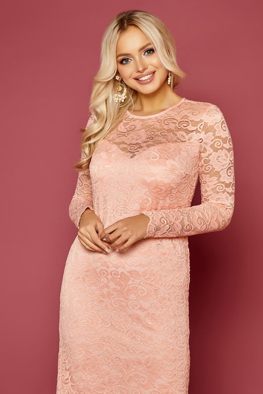 Женское персиковое платье с кружевом Сания д/р