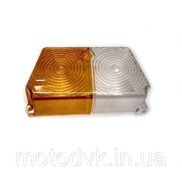 Стекло поворота  Днепр МТ  коляски переднее (бело желтое)
