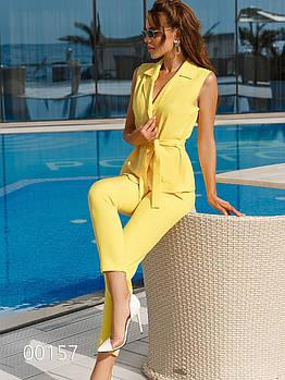 Нарядный брючный костюм с жилеткой женский, 00157 (Желтый), Размер 44 (M)
