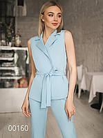 Брючный женский костюм с воротником без рукавов, 00160 (Голубой), Размер 50 (XXL)