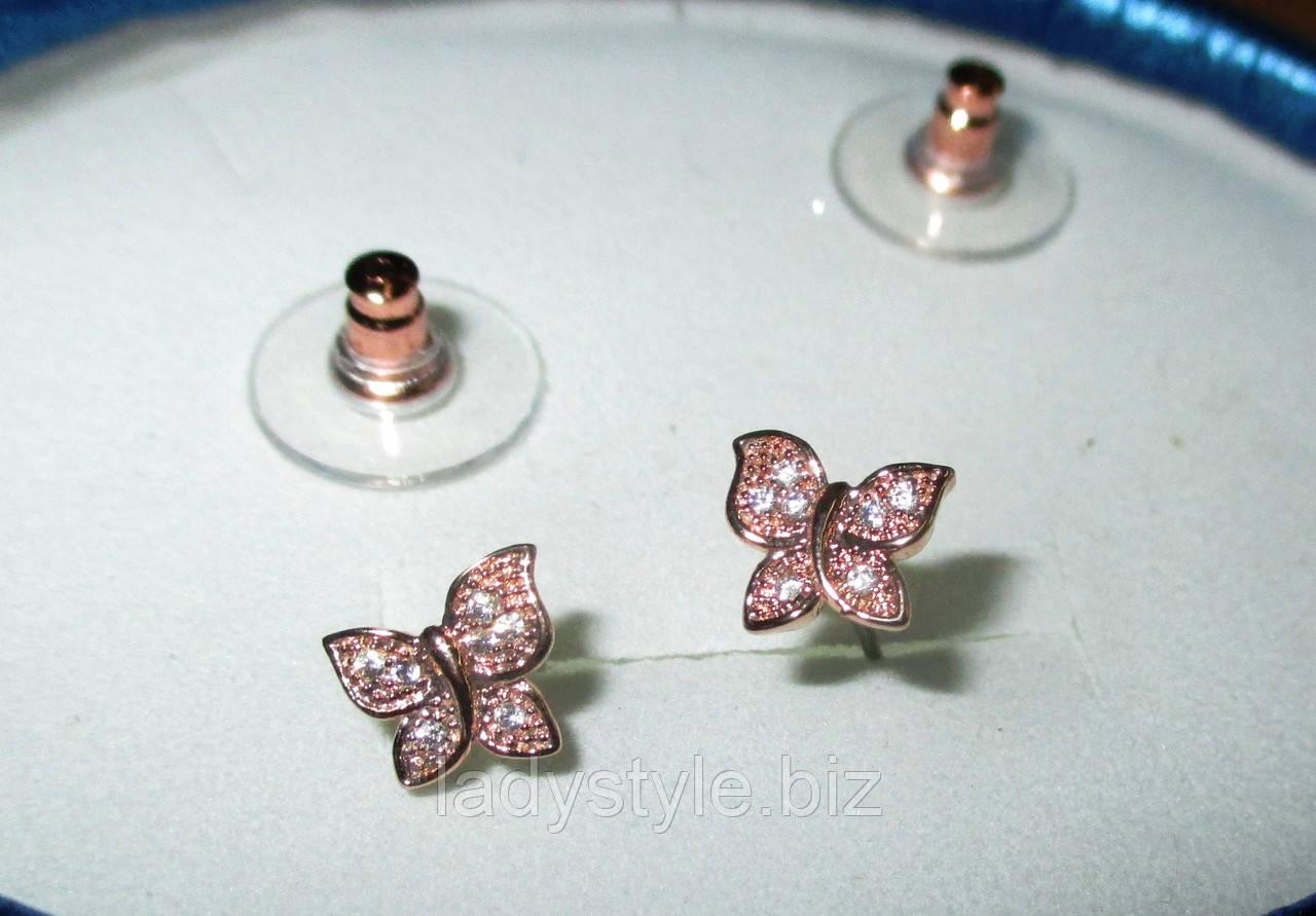 Нежные серьги-пусеты  золотые бабочки  с фианитом от студии LadyStyle.Biz