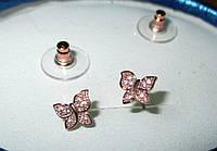 Нежные серьги-пусеты  золотые бабочки  с фианитом от студии LadyStyle.Biz, фото 1