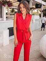 Костюм брючный молодежный для девушек, 00161 (Красный), Размер 48 (XL)