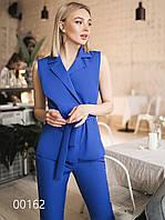 Деловой брючный костюм без рукавов женский, 00162 (Синий), Размер 46 (L)