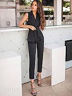 Костюм брюки с жилеткой, 00165 (Черный), Размер 48 (XL)