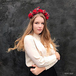 """Венок на голову """"Розалин"""", с большими розами и хрусталем."""