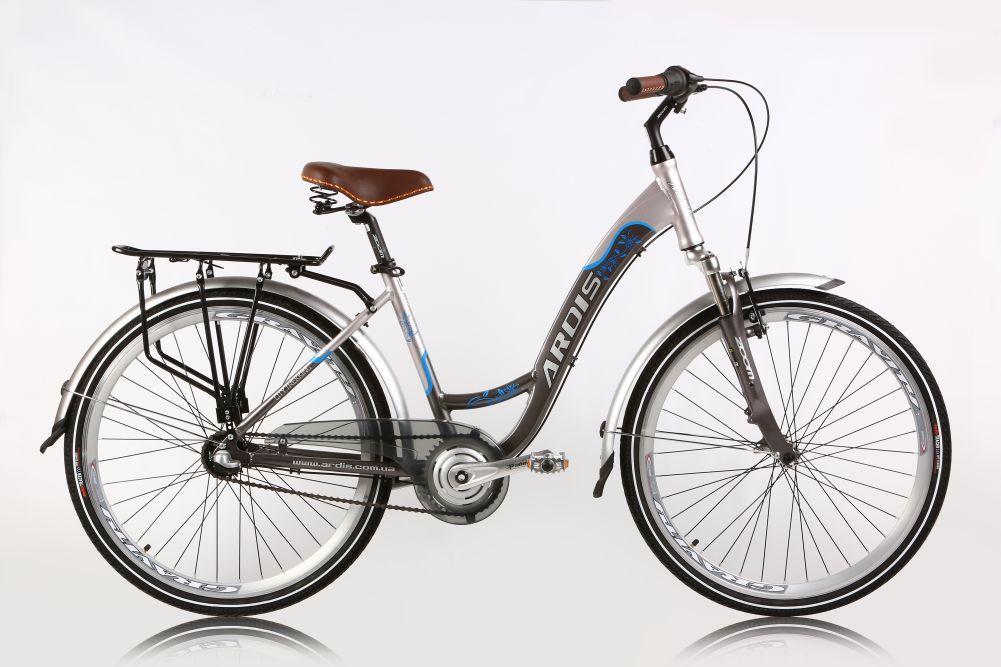 """Городской велосипед Ardis TREKKING R26"""" 17"""" алюминиевый с багажником (Серый)"""