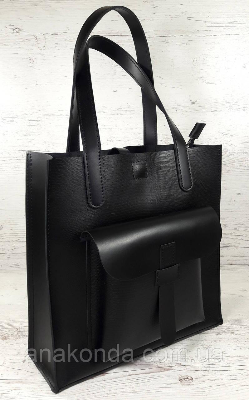 161-5 Натуральная кожа, Сумка женская черная кожаная сумка, А-4 + Женская кожаная сумка на плечо черная