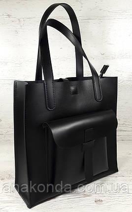 161-5 Натуральная кожа, Сумка женская черная кожаная сумка, А-4 + Женская кожаная сумка на плечо черная, фото 2