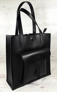 161-5 Натуральная кожа Формат А4+ Женская сумка черная на плечо кожаная натуральная Размер А-4 сумка