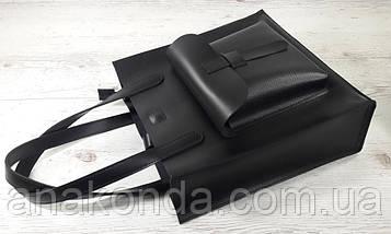 161-5 Натуральная кожа, Сумка женская черная кожаная сумка, А-4 + Женская кожаная сумка на плечо черная, фото 3
