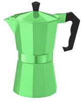 Гейзерная кофеваркка Con Brio зеленая золотистая серебо черная 9 порций 450 мл