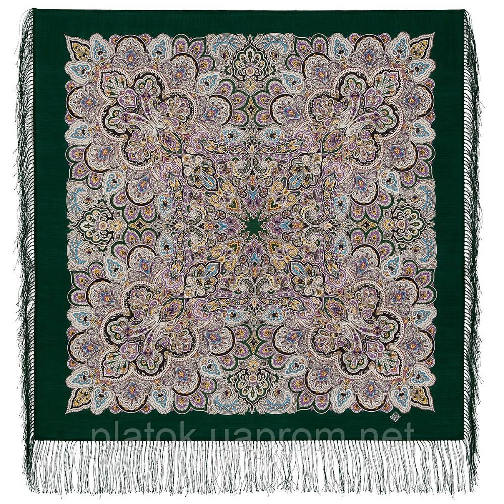 Соловушка 1893-10, павлопосадский платок шерстяной  с шелковой бахромой