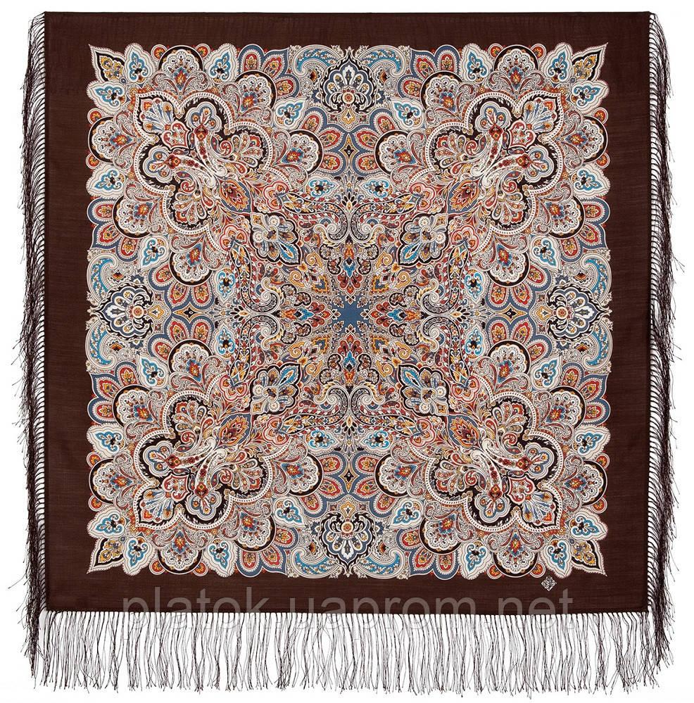 Соловушка 1893-17, павлопосадский платок шерстяной  с шелковой бахромой