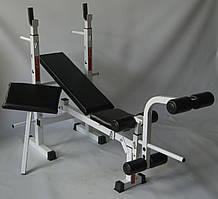 Набор универсальная скамья PLGsport K105 и приставные тренажеры скотта и для ног