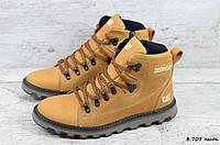 Мужские кожаные зимние ботинки Caterpillar (Реплика) (Код: Б 707 песок  ) ►Размеры [41,45], фото 1