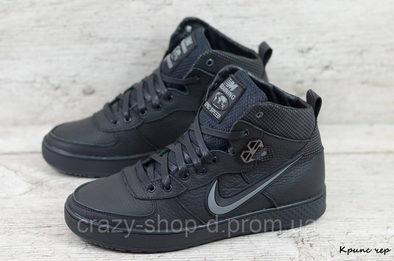 Мужские кожаные зимние кроссовки Nike (Реплика) (Код: Крипс чер  ) ►Размеры [40,41,42,43,44,45]