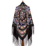 Цветы под снегом 1099-18, павлопосадский платок (шаль) из уплотненной шерсти с шелковой вязанной бахромой, фото 3