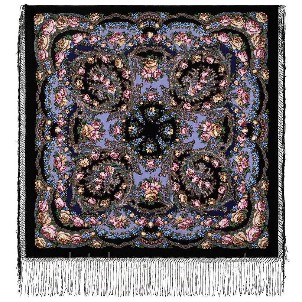Цветы под снегом 1099-18, павлопосадский платок (шаль) из уплотненной шерсти с шелковой вязанной бахромой