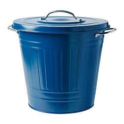 ИКЕА (IKEA) КНОД, 104.402.11, Ведро с крышкой, темно-синий, 16 л - ТОП ПРОДАЖ