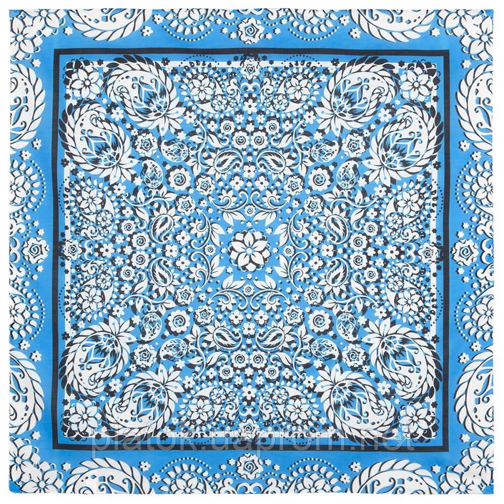 10757-3, павлопосадский платок хлопковый (батистовый) с подрубкой