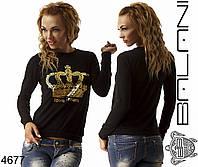 Женский свитшот черный корона