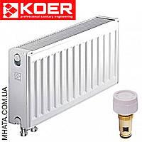 Стальные радиаторы Koer 22 тип 300*1800 Чехия VK (нижнее подключение) с термоклапаном