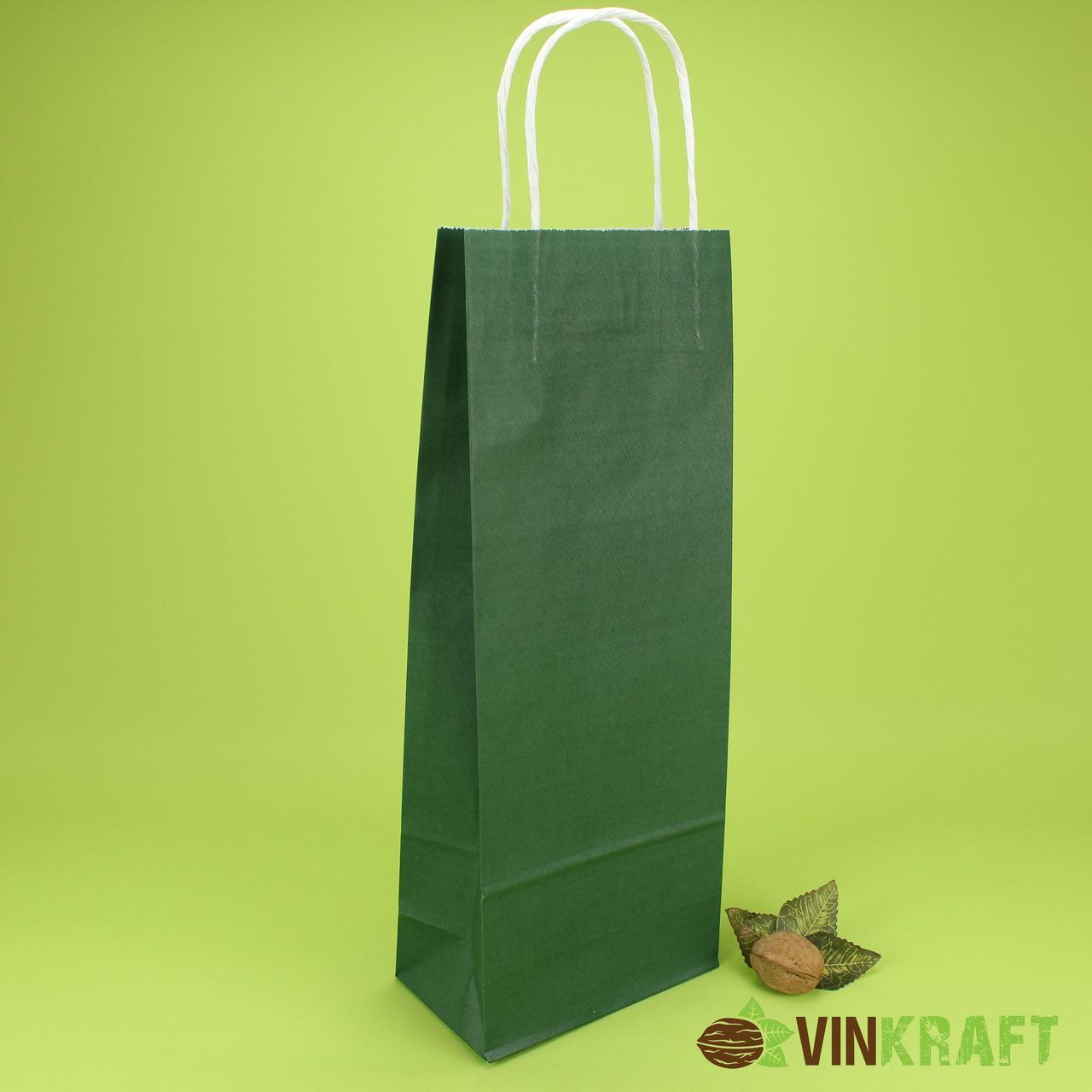 Пакет паперовий з ручками 150*90*400 (100г/м2) (3 кг), зелений