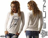 Белый женский свитшот с цветной совой