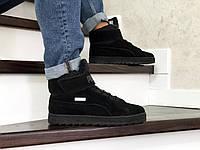 Мужские зимние кроссовки Puma 8658 чёрные, фото 1
