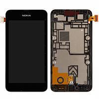 Дисплейный модуль (дисплей + сенсор) для Nokia Lumia 530, c рамкой, черный, оригинал