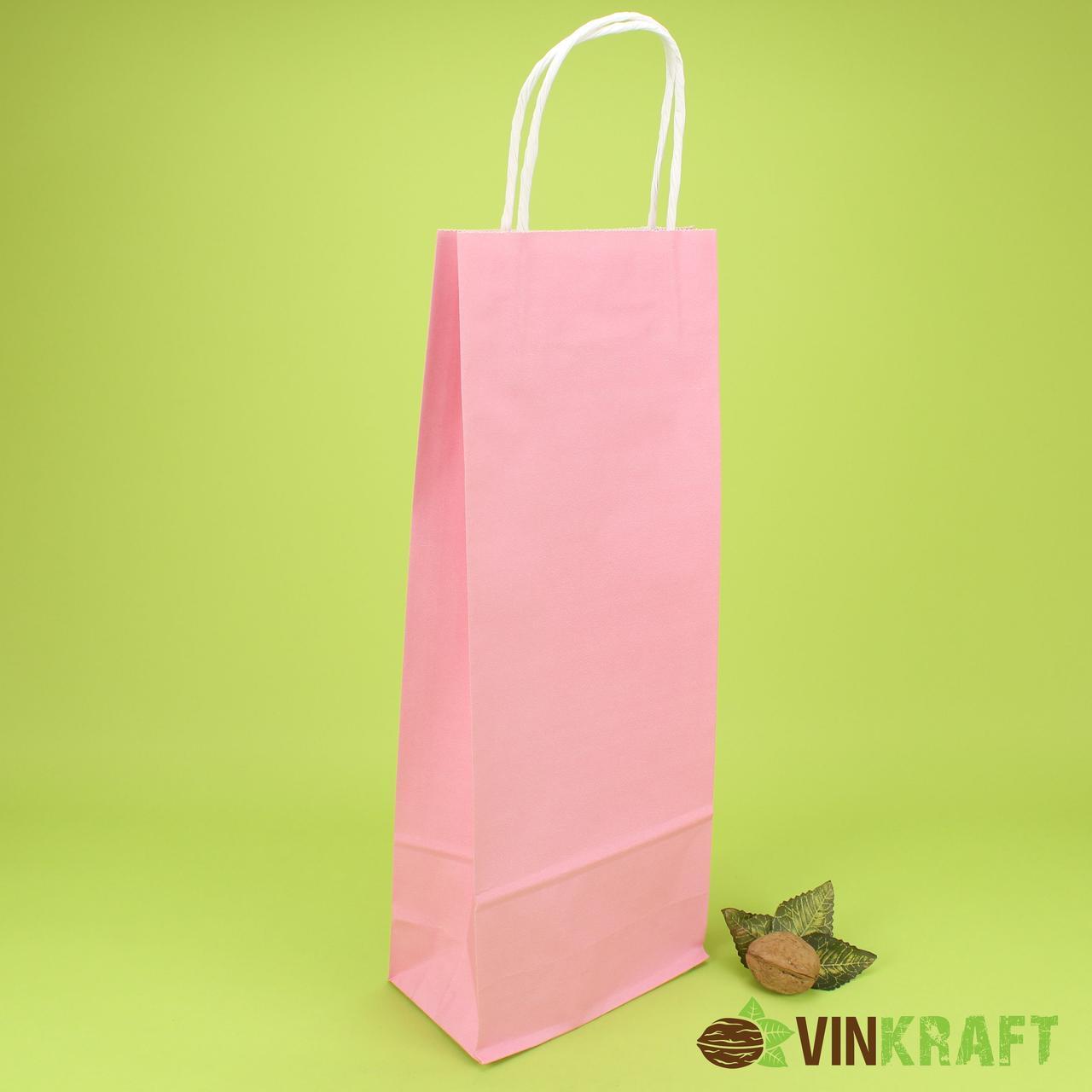 Пакет паперовий з ручками 150*90*400 (100г/м2) (3 кг), світло-рожевий